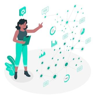 Ilustración del concepto de puntos de datos