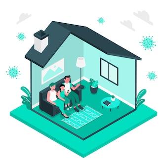 Ilustración del concepto de quedarse en casa