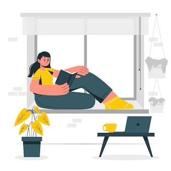 Ilustración del concepto de quedarse a casa