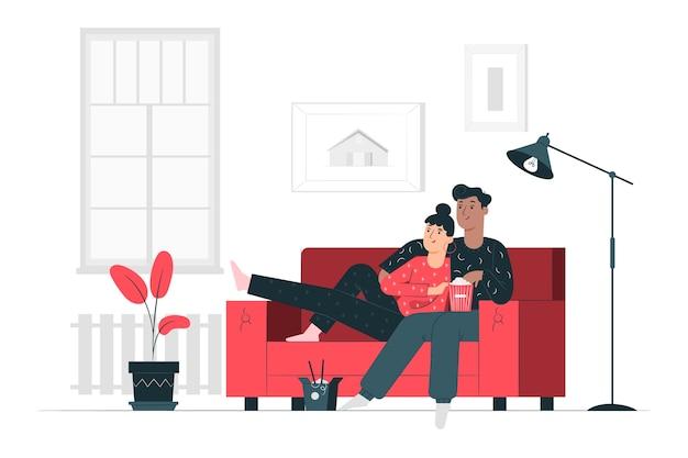 Ilustración de concepto quedarse en casa