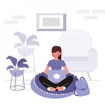 Ilustración de concepto de quedarse en casa