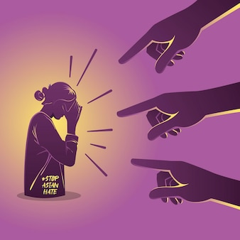 Una ilustración del concepto de racismo con las manos apuntando a la persona