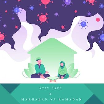 Ilustración del concepto de ramadán la pareja lee al quran y se mantiene a salvo desde su casa. actividades familiares en el ramadán