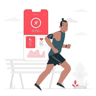 Ilustración del concepto de rastreador de fitness