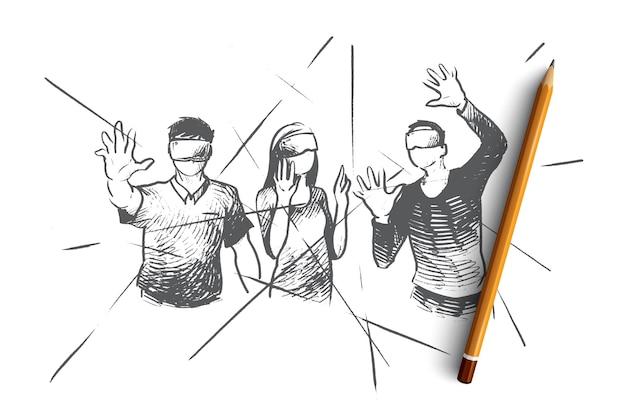 Ilustración del concepto de realidad virtual