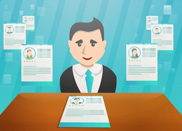 Ilustración del concepto de reclutamiento en estilo de dibujos animados