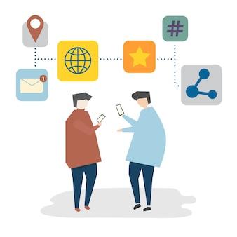 Ilustración del concepto de red social avatar