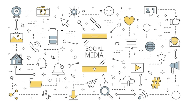 Ilustración del concepto de redes sociales. comunicación global, compartir contenido y recibir comentarios. utilización de redes para la promoción empresarial. estrategia de mercadeo. ilustración de línea