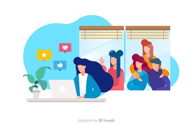 Ilustración del concepto de redes sociales matando amistades