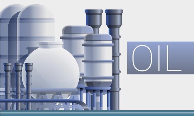 Ilustración de concepto de refinería de fuel oil, estilo de dibujos animados
