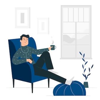 Ilustración de concepto relajante en casa