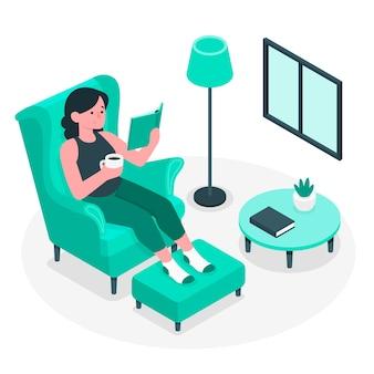 Ilustración del concepto de relajarse en casa