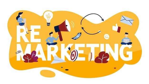 Ilustración del concepto de remarketing. estrategia empresarial o campaña para incrementar las ventas. ilustración
