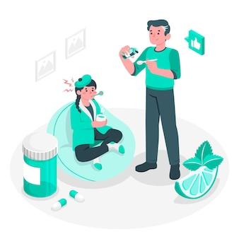 Ilustración del concepto de remedio (medicina)