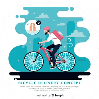 Ilustración concepto reparto en bicicleta dibujada a mano