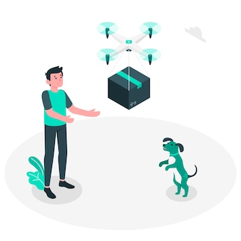 Ilustración de concepto reparto drone