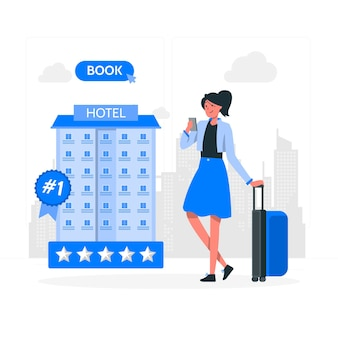 Ilustración del concepto de reserva de hotel