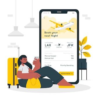 Ilustración de concepto de reserva de vuelo