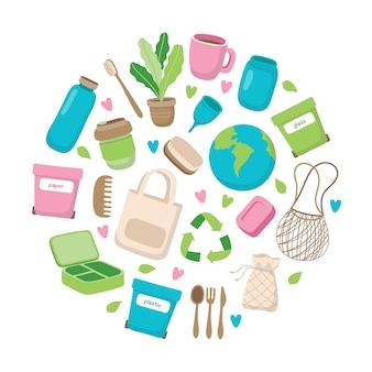 Ilustración de concepto de residuos cero con diferentes elementos en marco circular.