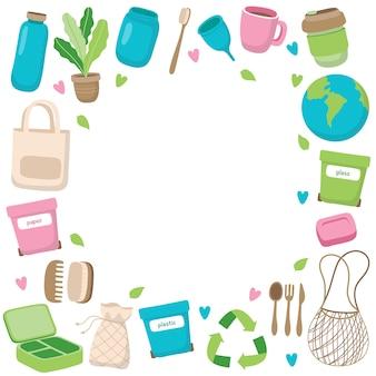 Ilustración de concepto de residuos cero con diferentes elementos en el marco.