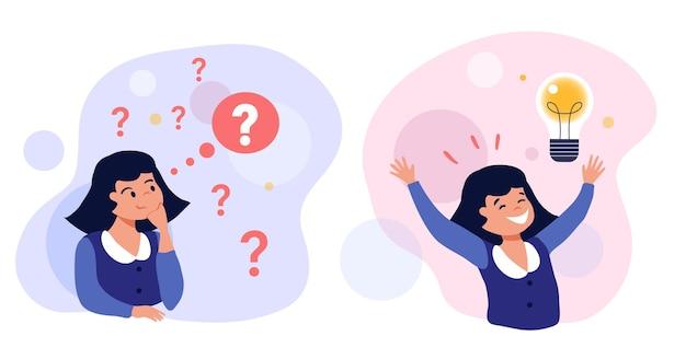 Ilustración de concepto de resolución de problemas linda chica pensando tratando de encontrar una solución