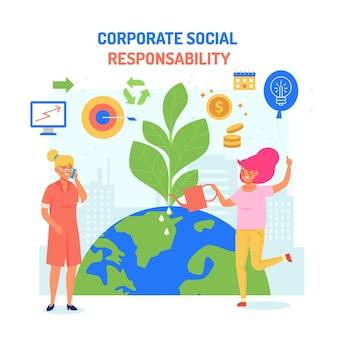 Ilustración de concepto de responsabilidad social corporativa de diseño plano