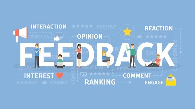 Ilustración del concepto de retroalimentación. idea de interés, respuesta y opinión.