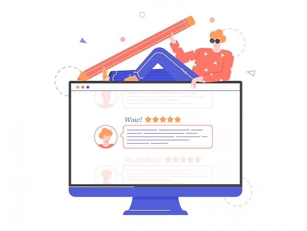 Ilustración del concepto de retroalimentación o calificación. hombre con un lápiz grande y monitor con comentarios de clientes.
