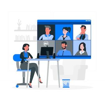 Ilustración del concepto de reunión remota