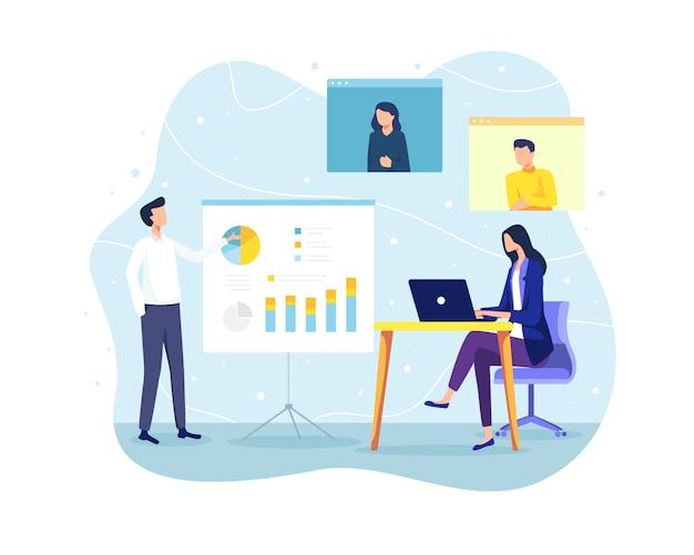 Ilustración concepto de reunión y trabajo en equipo