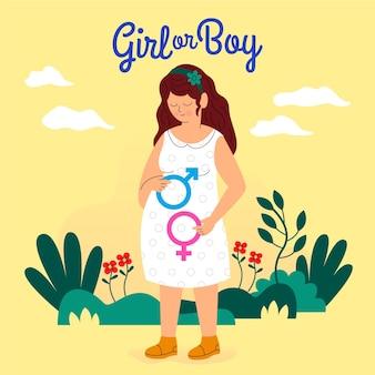 Ilustración de concepto de revelación de género de diseño plano