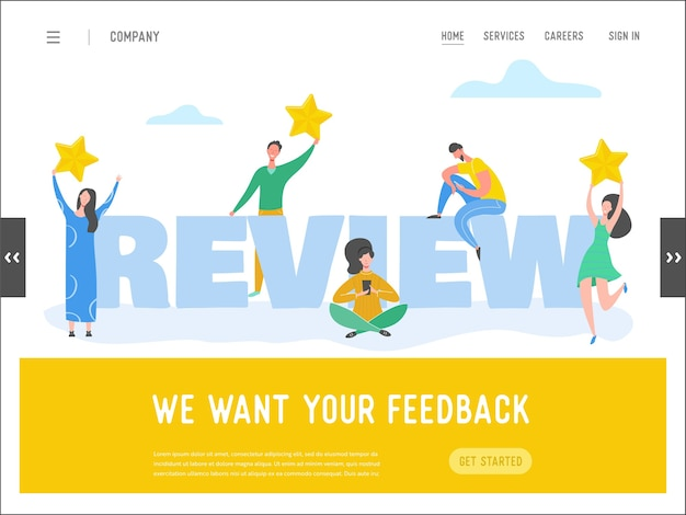 Ilustración de concepto de revisión de plantilla de página de destino. personajes de mujer y hombre escribiendo buenos comentarios con estrellas doradas. servicios de tarifa al cliente para sitio web o página web. opinión positiva de cinco estrellas.