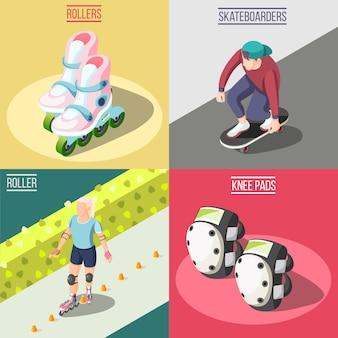 Ilustración del concepto de rodillos y skaters