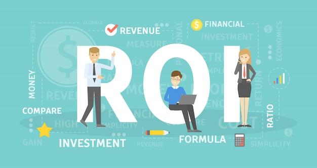Ilustración del concepto de roi. idea de inversión e ingresos.