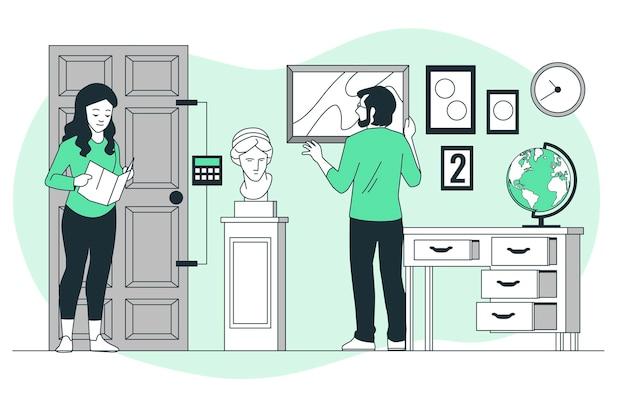 Ilustración de concepto de sala de escape
