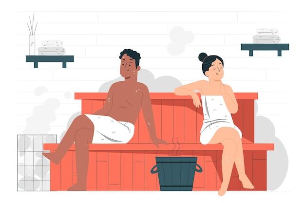 Ilustración del concepto de sauna