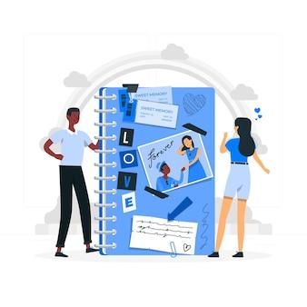 Ilustración del concepto de scrapbooking