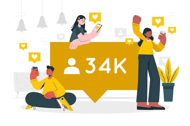 Ilustración del concepto de seguidores