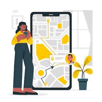 Ilustración de concepto de seguimiento de ubicación