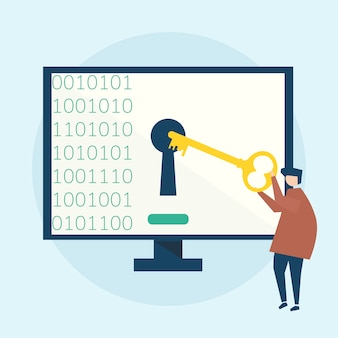 Ilustración del concepto de seguridad cibernética
