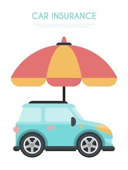 Ilustración del concepto de seguro de automóvil de paraguas.