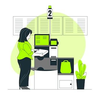 Ilustración del concepto de self checkout