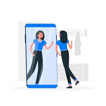 Ilustración del concepto de selfie