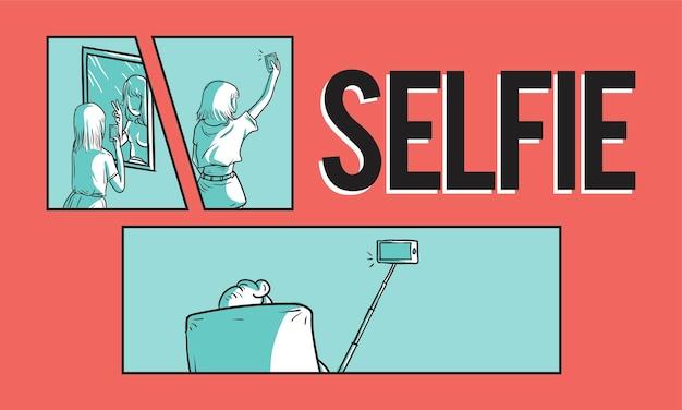 Ilustración del concepto selfie