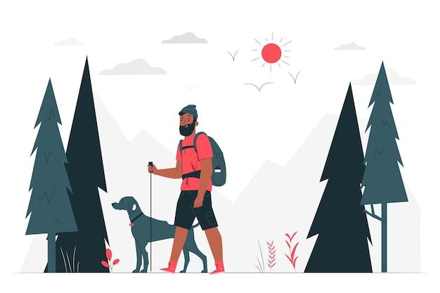 Ilustración del concepto de senderismo