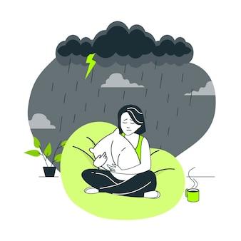 Ilustración del concepto de sentirse triste
