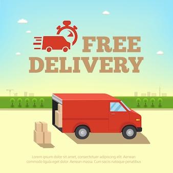 Ilustración del concepto de servicio de entrega. camioneta para envío rápido en el contexto del paisaje urbano
