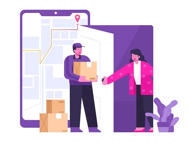 Ilustración del concepto de servicio de entrega móvil