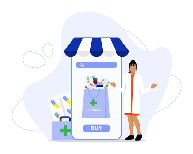 Ilustración de concepto de servicio de farmacia en línea