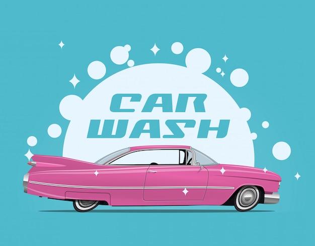 Ilustración del concepto de servicio de lavado de autos con vista lateral de dibujos animados retro coche rosa y bombillas de jabón blanco y subtítulo de lavado de coches.